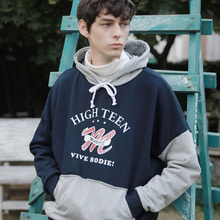 [MAUVE] HIGHTEEN COLOR HOODIE (navy)