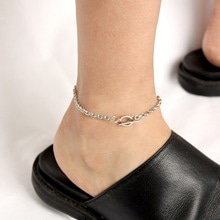 [RUSHOFF][Unisex] Unusual Chain Ankle Bracelet (Surgical Steel)/ 언유즈얼 체인 발찌