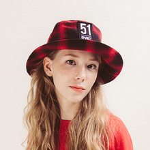 [spunky] 17 CHECK BUCKET HAT (RED)
