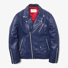 [MAHAGRID] W RIDERS JACKET(LAMBSKIN) - OFFICIAL L.E NAVY