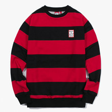 [Have a good time] FW17 Stripe Crewneck - Black/Red