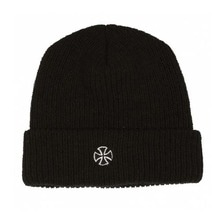 [INDEPENDENT] Cross Ribbed Long Shoreman Beanie Hat - Black