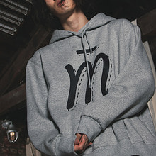 [MUTEMENT]GREY M LOGO FLEECE HOODIE
