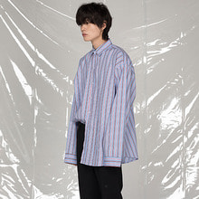 [FLAREUP] Over shirt (FU-117) - Stripe light mix blue