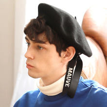 [MAUVE] LOGO RIBBON BERET (black)