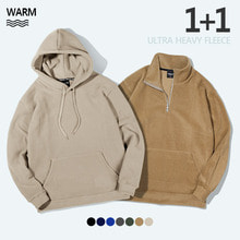 [TENBLADE] [Unisex] Loose Fit Fleece Turtle Neck + Warm Hood 1+1