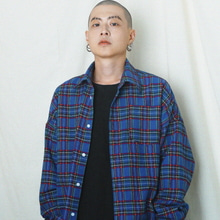 [MAREMOTO]flannel oversize shirt blue