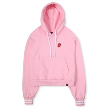 [Bravado]THE ROLLING STONES CLASSIC TONGUE CROP HOODIE PINK