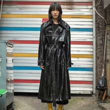 [XYZ][Order Made] UNISEX Leather Trench Coat - Black