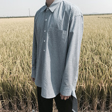 [4BLESS] Unbalance Stripe 2way Shirt Blue
