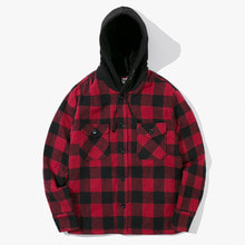 [Have a good time] FW17 Hooded Flannel Jacket - Red