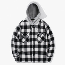 [Have a good time] FW17 Hooded Flannel Jacket - White