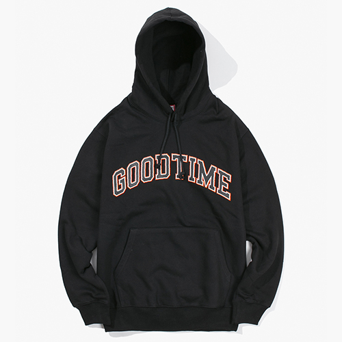 [Have a good time] College Logo Pullover Hoodie - Black