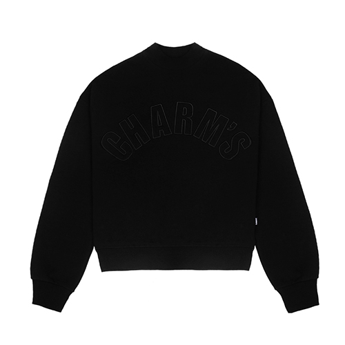 [CHARM'S] Half high neck sweatshirt - BK