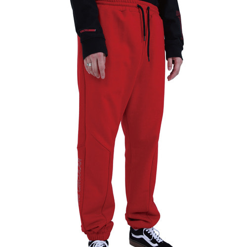 [40% OFF][RENDEZVOUZ] POCKET BLOCK OVERSIZED SWEATPANTS - RED