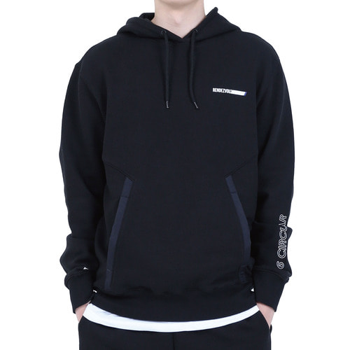 [40% OFF][RENDEZVOUZ] POCKET BLOCK OVERSIZED HOODIE - BLACK