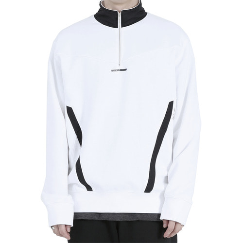 [40% OFF][RENDEZVOUZ] POCKET BLOCK SWEAT ZIP UP - WHITE
