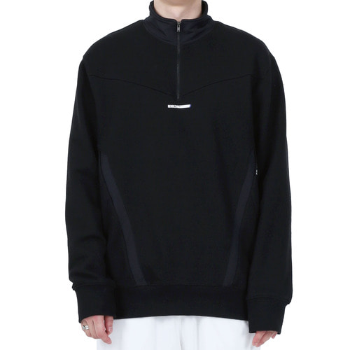 [40% OFF][RENDEZVOUZ] POCKET BLOCK SWEAT ZIP UP - BLACK