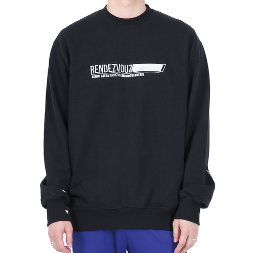 [40% OFF][RENDEZVOUZ] HORIZONTAL BLOCK SWEAT TOP - BLACK