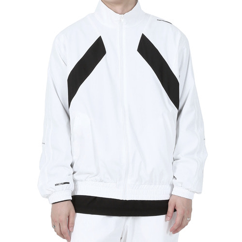 [40% OFF][RENDEZVOUZ] DIAGONAL BLOCK WINDBREAKER - WHITE