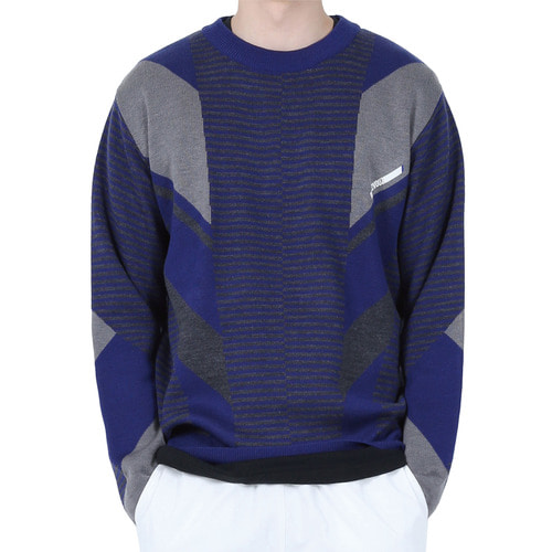 [40% OFF][RENDEZVOUZ] DIAGONAL PATTERNED KNIT - BLUE
