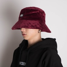 [20%할인][Double adrenaline syndrome]Oversized fur buckethat-Burgundy