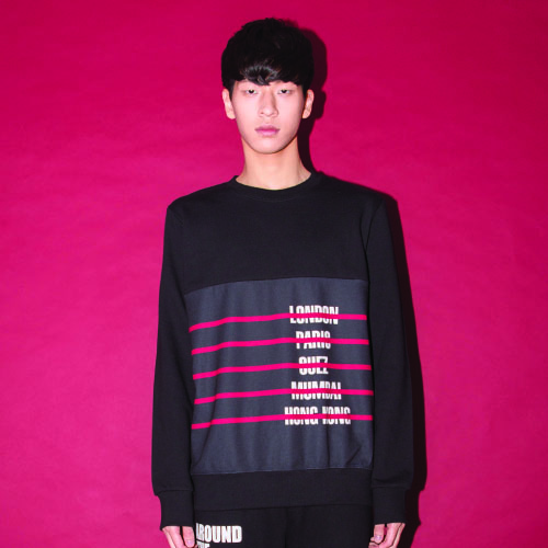 [20%할인] [AROUND80] CITY-STRIPE SWEAT SHIRT_BLACK