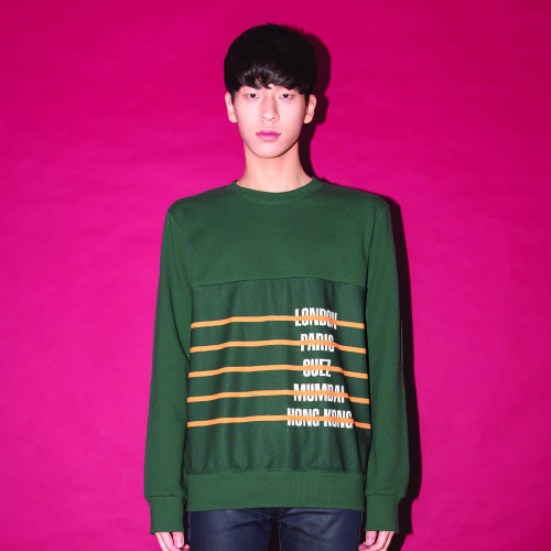 [20%할인] [AROUND80] CITY-STRIPE SWEAT SHIRT_GREEN