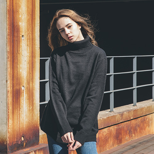 [57% sale] [WOLPENDER] (Unisex) Mixed-Color Turtle-Neck Knit