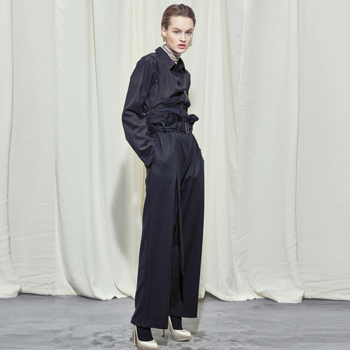 [SALON DE SEOUL] Woman Corset Belt Wide Pants - Black