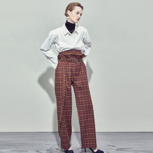 [SALON DE SEOUL] Woman Corset Belt Wide Pants - Check Brown