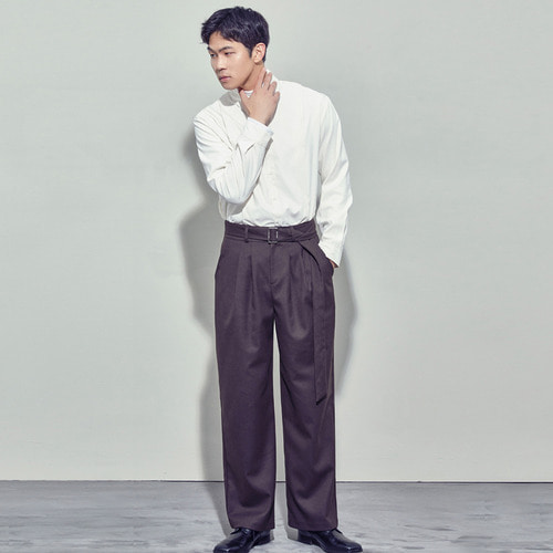 [SALON DE SEOUL] Man Belted Pintuck Wide Pants - Brown
