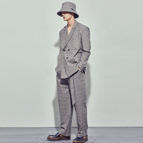 [SALON DE SEOUL] Man Belted Pintuck Wide Pants - Check Beige
