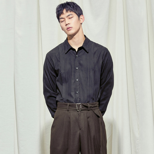 [SALON DE SEOUL] Man Suede Pintuck Shirt - Black