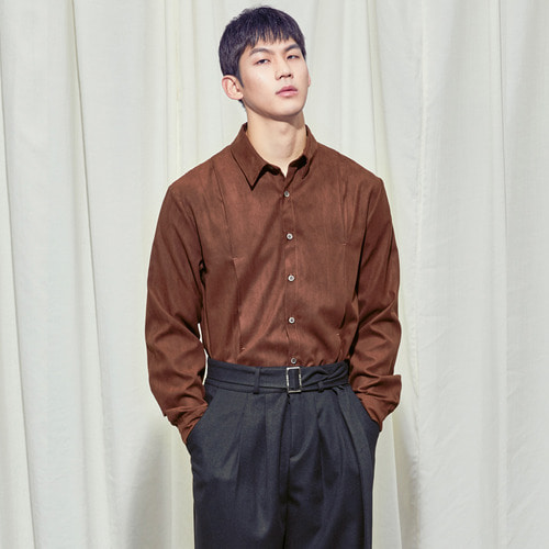 [SALON DE SEOUL] Man Suede Pintuck Shirt - Brown