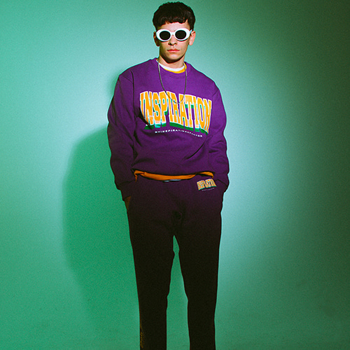 [10%할인] [MIX]logo sweatpants purple