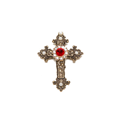 [PAIN OR PLEASURE] ANTIQUE CROSS BROOCH gold