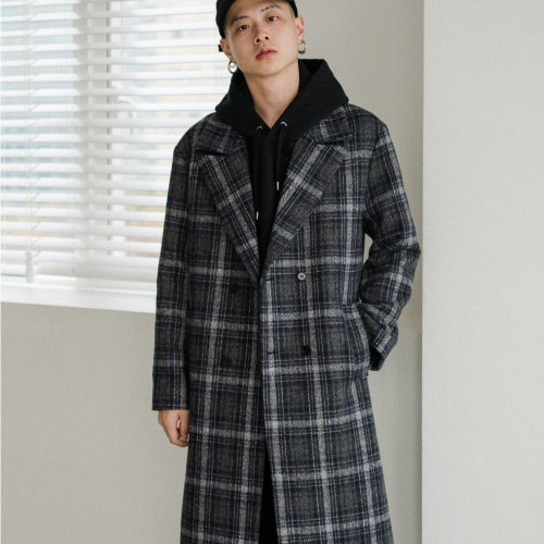 [40%SALE][NOT N NOT]Heavy maxi double coat - Navy check