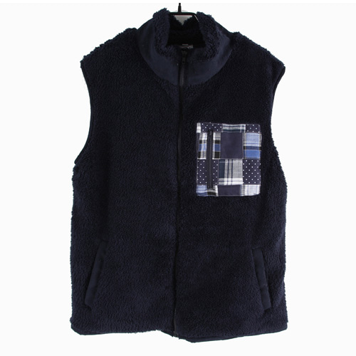 [MARSRAIGHT]PATCH WOOL VEST-NAVY