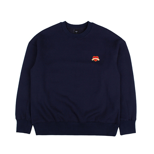 [EINEN]Small Heart Crown Napping Sweatshirts Navy