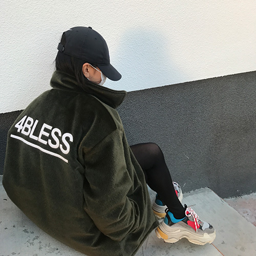 [4BLESS] Faux Calf Fur Jacket Khaki