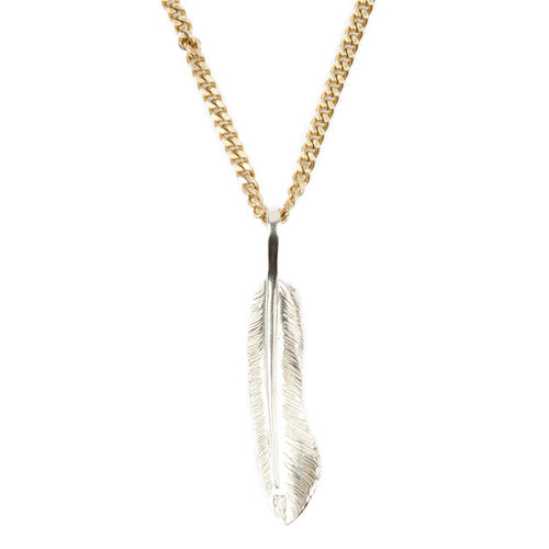 [AGINGCCC]255# SOLIDBRASS FEATHER NECKLACE-NO.2