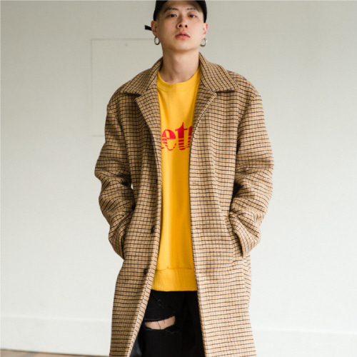 [50%SALE][NOT N NOT]Check Over mc coat - Beige