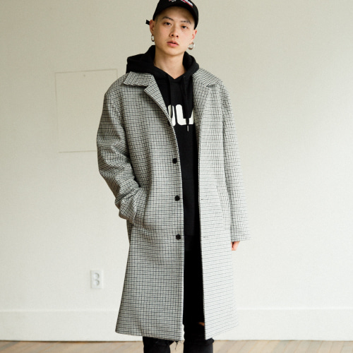 [50%SALE][NOT N NOT]Check over mc coat - Grey