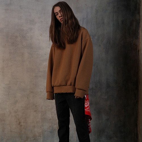 12/07예약배송 [REC INTERVIEW] DAMAGE PULLOVER KNIT BEIGE