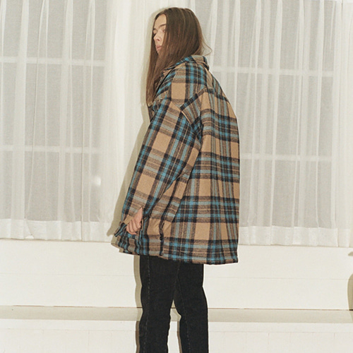 [REC INTERVIEW] OVERSIZE PADDING CHECK SHIRT BEIGE