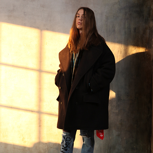 12/07예약배송 [REC INTERVIEW] OVERSIZE PEA COAT BLACK