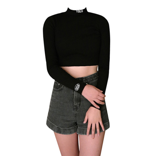 [YBCS] YBCS Needlework Knit Croptop - Black