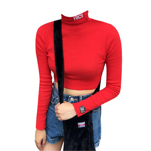[YBCS] YBCS Needlework Knit Croptop - Red