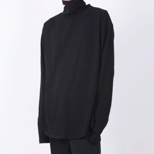 [Nar_Yoke] Overfit Long Sleeve Turtleneck - Black